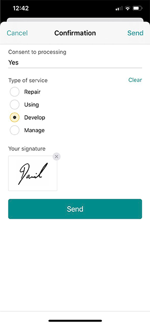 Signing documents right on a phone in Pyrus