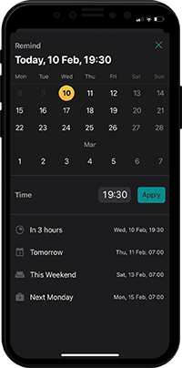 Mobile reminder in Pyrus
